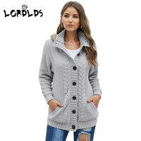 LORDLDS Women knitted sweater hooded cardigan 2019 Autumn cable knit Jacket cardigan sweaters with fur