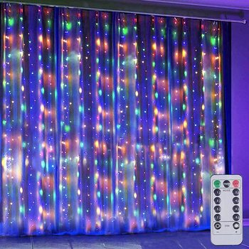 Solar Powered 3x1M/3x2M/3x3M LED Copper Wire Curtain String Lights Waterproof Outdoor Window Lights For Christmas Party Wedding heart led curtain lights 1 5m 5t ip44 waterproof string lights for wedding valentine s day home window wall decoration d30