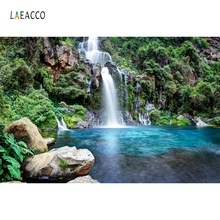 Laeacco Spring Forest Mountain Waterfall Scenery Portrait Photography Backgrounds Custom Photographic Backdrops For Photo Studio