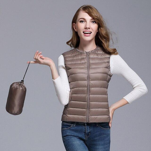 Fitaylor New Women 90% White Duck Down Vest Women Ultra Light Duck Down Vest Jacket Autumn Winter Round Collar Sleeveless Coat 2