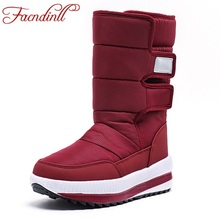 FACNDINLL 2019 new winter boots high women snow boots plush warm shoes high qulaity black red shoes female hot boots size 36-41 hot sale women winter shoes waterproof thick bootleg plush warm fur snow boots parents high boots plus size 41 free shipping