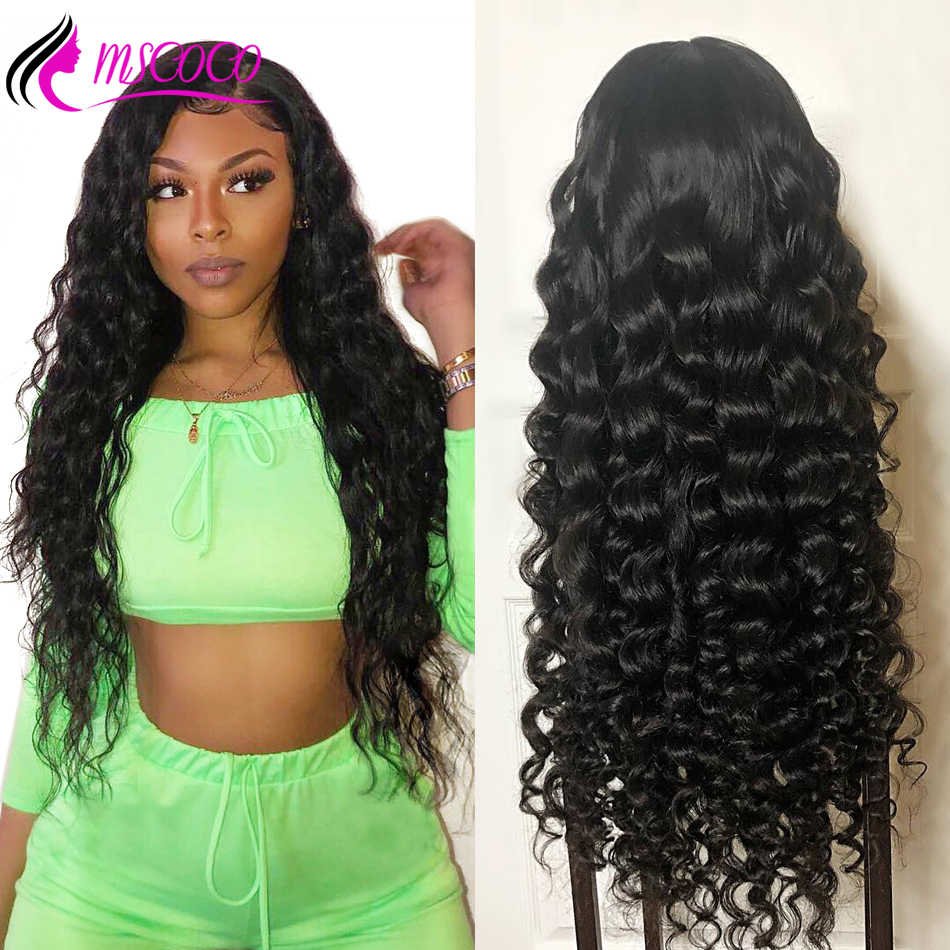 Mscoco Lace Front Human Hair Wigs Brazilian Loose Deep Wave Wig 360 Lace Frontal Wig 150 180 250 Density Curly Human Hair Wig