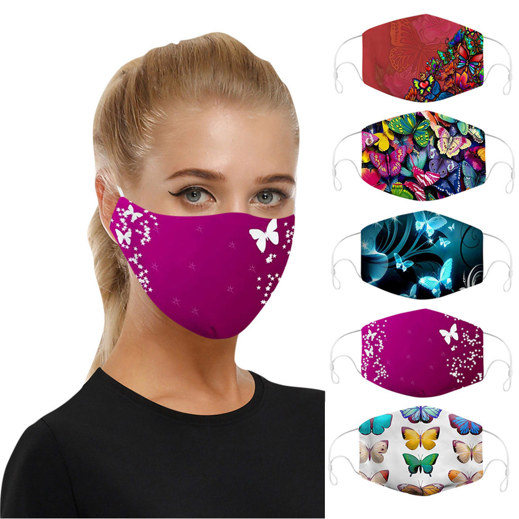 5PC Washable Reusable Breathable Face Masks Universal Dust-proof Smog-washable Face Mask For Adults Kids In Europe And America