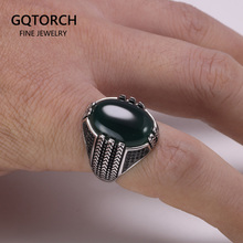 Prawdziwe czyste 925 srebro pierścionki z czarnym kamień onyksowy duże tureckie pierścienie dla mężczyzn Retro Vintage turcja biżuteria Anelli Uomo