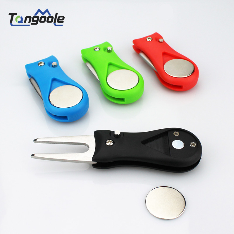 Mini Foldable 1 Pcs Golf Divot Repair Tool Switchblade Pitch Groove Cleaner Golf Pitchfork With Golf Marker