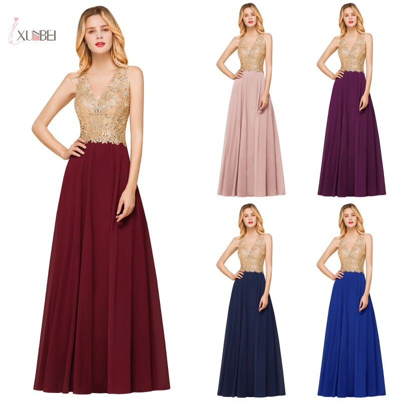 Burgundy Chiffon Long Bridesmaid Dresses 2019 Elegant Wedding Party Guest Gown Lace Applique V Neck Sleeveless Vestido Madrinha