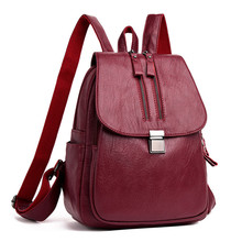 2019 Female Leather Backpack High Quality Ladies Backbag Large Capacity Travel Bag Women Casual Daypack Double Zipper Sac A Dos