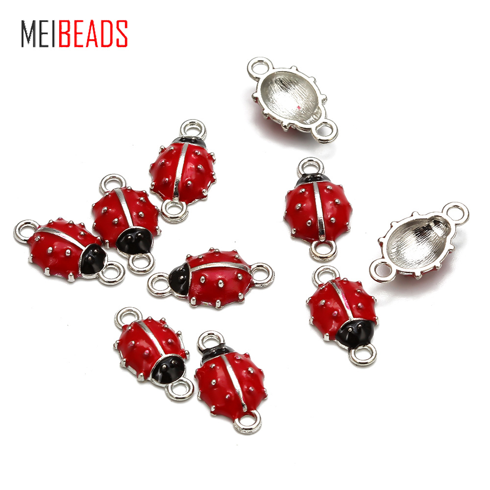 10pcs/lot New Red Ladybug Decorations DIY Alloy Nails Tools Charms Connectors For DIY Craft Home Party Holiday Decoration UF7929