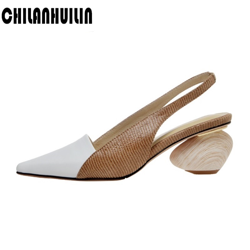 brand shoes fashion mixed leather pumps sexy pointed toe summer sandals thick heel women party casual slippers ladies OL shoes