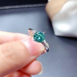 Bague Moissanite bleu vert 1CT VVS 6.5MM laboratoire diamant bijoux fins avec certificat femmes cadeau d'anniversaire réel 925 argent Sterling