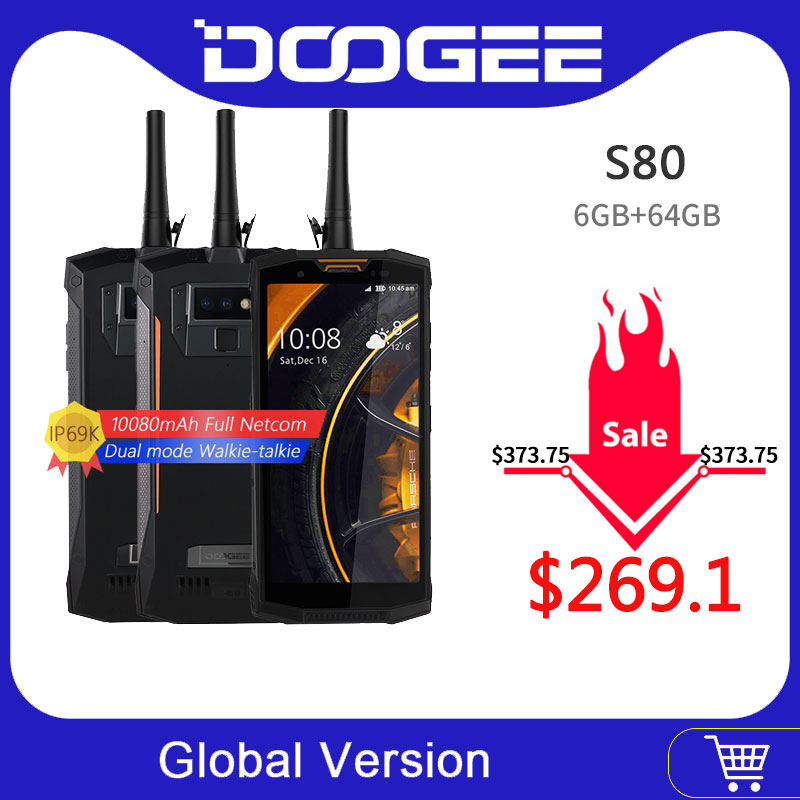 DOOGEE S80 Mobile Phone IP68/IP69K Walkie Talkie Wireless Charge NFC 10080mAh 12V2A 5.99 FHD Helio P23 Octa Core 6GB 64GB 16.0MP