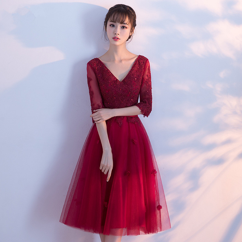 Dress   Burgundy   Cocktail     Dress   Cheap V Neck Short Sleeves Graduation Party   Dress   Ruffles Fashion   Cocktail     Dresses   Robe Courte