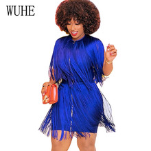 WUHE New Women Summer Tassel Dress Elegant Club Party Dress Elegant Hollow Out Tassel Embellished Mini Fringe Dresses Femme