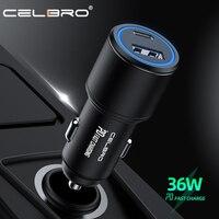 Cargador USB para coche, dispositivo de carga rápida PD QC 3,0, 36W, para Samsung Note 20, iPhone 12 Pro, Xiaomi, tableta LED Dual, USB C a C