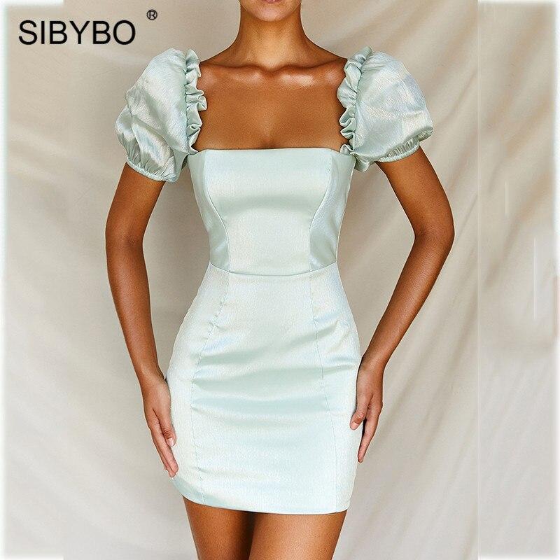 SIBYBO Slash Neck Satin Mini Bodycon Dress Short Sleeve Sheath Summer Women Dress Solid Backless Ladies Casual Dresses