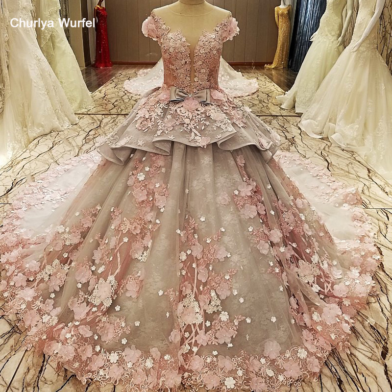 LS83920 Evening Gown Zipper Back Beaded Organza Ball Gown Long Evening Dress Abendkleider Lang Pink Flowers Grey Robe De Soiree