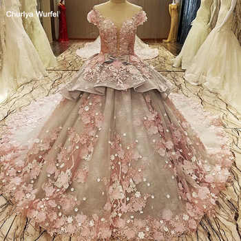 LS83920 evening gown zipper back beaded organza ball gown long evening dress abendkleider lang pink flowers grey robe de soiree - DISCOUNT ITEM  55% OFF All Category
