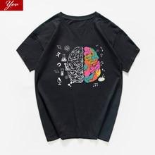 Harajuku Geek Cervello T degli uomini Della Camicia Scienza Chimica Biologia Geografia streetwear Matematica Fisica Fresco T-Shirt Divertente Tee shirt homme