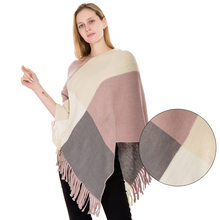 Winter Warm Tassel Sweater Poncho Women Knitted Batwing Cape Cloke All Match Plaid Pull Femme Jumper Autumn Ponchos LW890(China)
