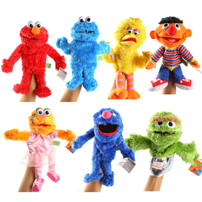 30cm Large Puppet Lovely Cartoon Elmo CookieMonster Oscar Sesame Street Soft Plush Toy Hand Puppet  Doll For Children Kids Gifts