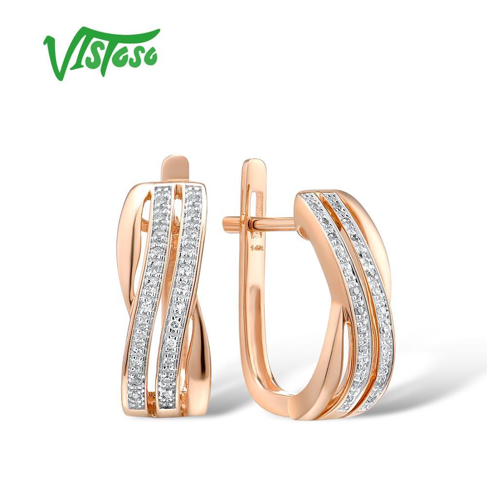 VISTOSO 14K 585 Rose Gold Earrings For Lady Glamorous Elegant Sparkling Diamond Earrings Luxury Wedding Engagement Fine Jewelry