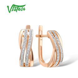 VISTOSO 14K 585 Rose Gold Ohrringe Für Dame Glamorous Elegante Funkelnden Diamant Ohrringe Luxus Hochzeit Edlen Schmuck