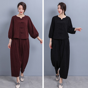 2020 chinese set traditional women cotton linen set female tang suit chinese clothes for women chinese set