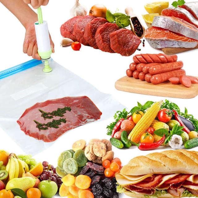 Kit de sacs pour cuisinières-25 sacs scellés Sous Vide pour aliments réutilisables, cuiseur Sous Vide pratique pour le stockage et la cuisson des aliments, 2 pompes à main, 5