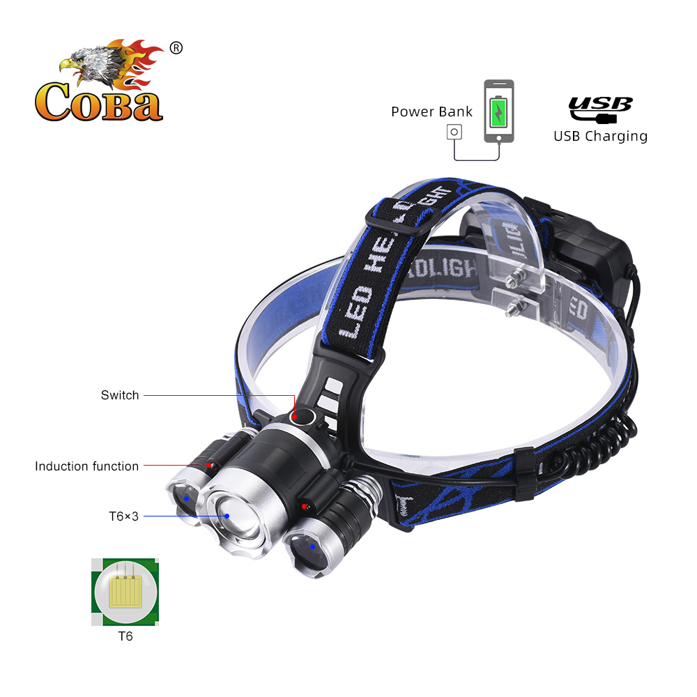 COBA T6 led induction headlamp <font><b>3000LM</b></font> waterproof power bank usb rechargeable head light 18650 battery 4 modes fishing light image