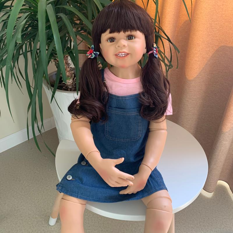 100CM Hard silicone vinyl toddler princess girl doll toy like real 3-year-old size child clothing model big dress up doll gift
