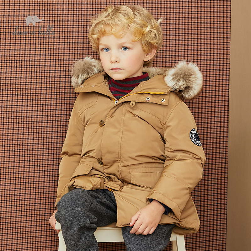 DKH15225  dave bella winter baby boys 5Y-13Y fashion solid hooded down coat children 90% white duck down padded kids jacket