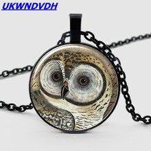 Vintage Owl Chain Crystal Pendant Necklace Tibetan Convex