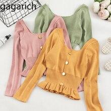 Gagarich, женский свитер,, Корейская версия, длинный рукав, милый, однотонный, короткий, для девушек, Ранняя осень, ВЯЗАННЫЙ ПУЛОВЕР