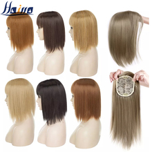 HAIRRO 11Inch Clip In Hair Pieces Straight Hair Extension With Bangs Synthetic 16 Colors Clip In Hair Pieces For Women cheap High Temperature Fiber 4 inches with 2 clips CN(Origin) Pure Color