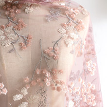 130cm Width 0.5M/lot Mesh Sequins Embroidered Pink-Purple Lace Fabric Cloth Evening Dress Material X647