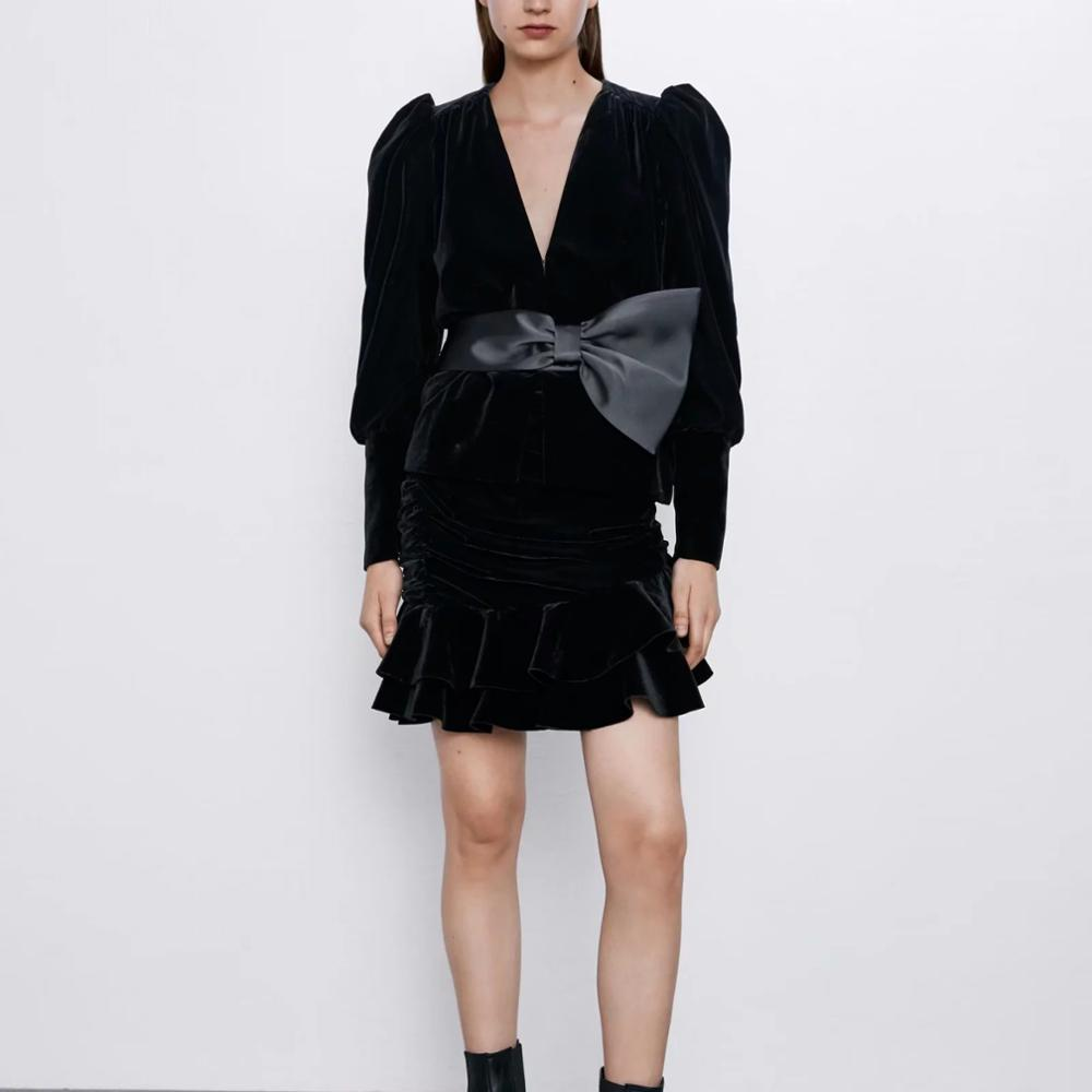 Za Woman Autumn Winter Puff Sleeve Bowknot V-neck Velvet Coat Casual Fashion Jacket Female Cardigan Club Woman Clothes