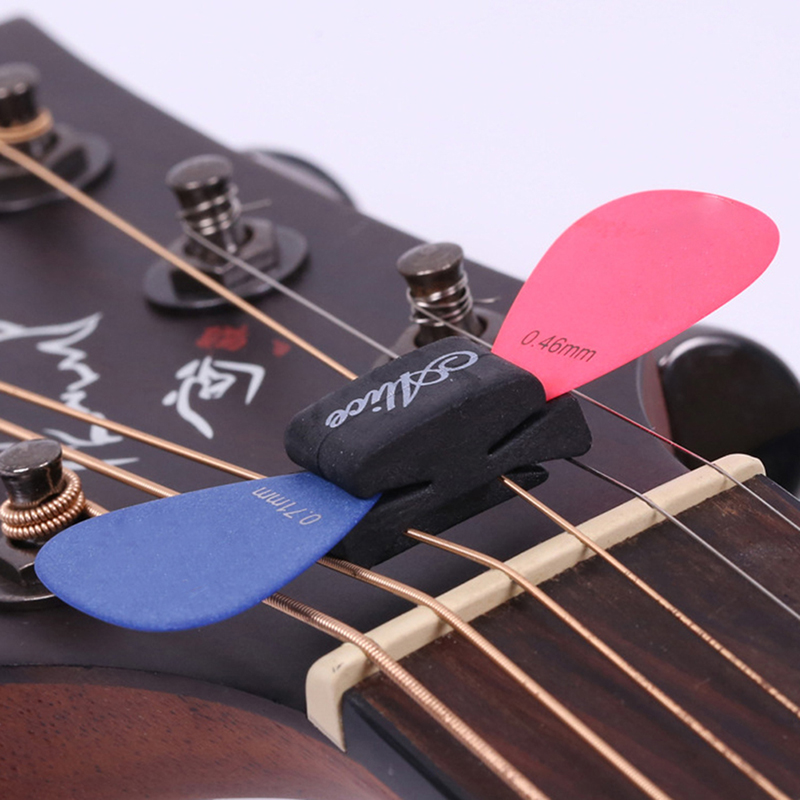 1Pc Angel wings Black Rubber Guitar Pick Holder Fix On Headstock For Guitar Bass Ukulele Cute Guitar Accessories