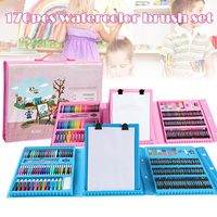 176Pcs/Set Painting Graffiti Paint Brush Kit Kids Art Entertainment Toys with Easel AN88