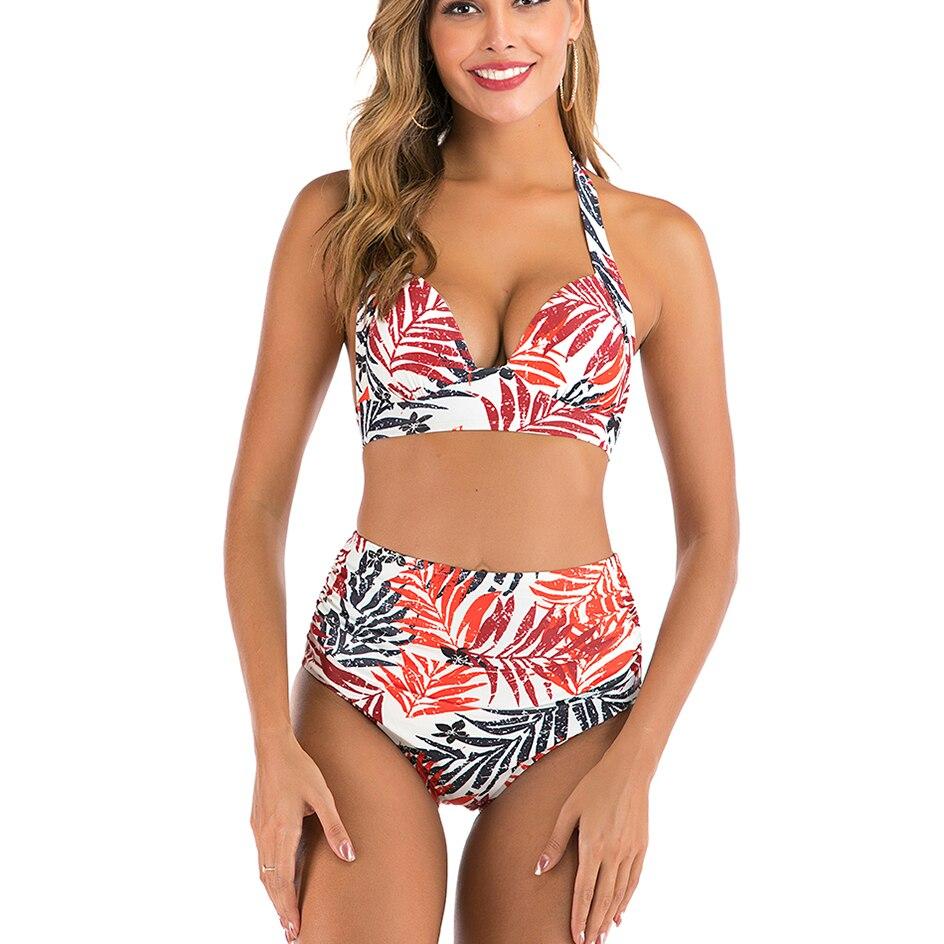 High Waist Bikinis Set Swimsuit Women 2020 Summer Bikini Push Up Halter Black Swimwear Women Bathing Suit Plus Size Swimwear 3XL 3