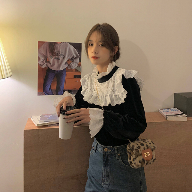 Ruched Ruffle Spliced Korean Blouses For Ladies Spring Long Sleeve Shirt Stand Collar Vintage 2021 Shirts Female Blusas Ins Tops 5