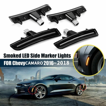 4Pcs Front Rear Bumper Smoked Lens Amber LED Side Marker Lights Bumper Lamp Reflector for Chevrolet Camaro 2016-2018 6Th