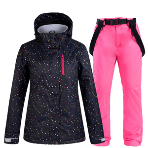 Image 5 - Ensemble de combinaison de snowboard pour femme, noir et blanc, veste + bavoir, pantalon de neige, étanche, coupe vent, hiver, respirant