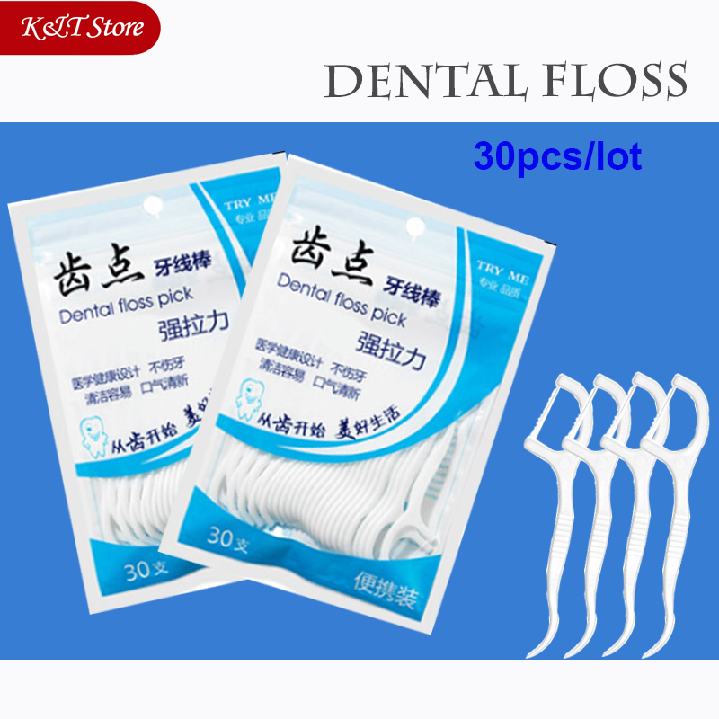 30pcs Cleaning Teeth Dental Floss Teeth Sticks Oral Care Hygiene Toothpick Polyethylene Dental Flosser With Portable Case