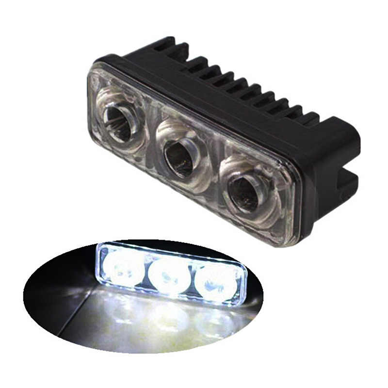 2 Pcs Tahan Air Universal Mobil High Power Aluminium LED Lampu dengan 3-LED Lensa DC 12-24V Putih 6000K DRL Lampu Kabut
