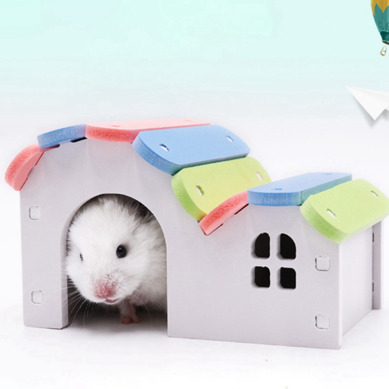 Cute Wood Hamster House Small Pets Rat Mouse Hut Nest Pet Sleeping Log Cabin Self Assembly