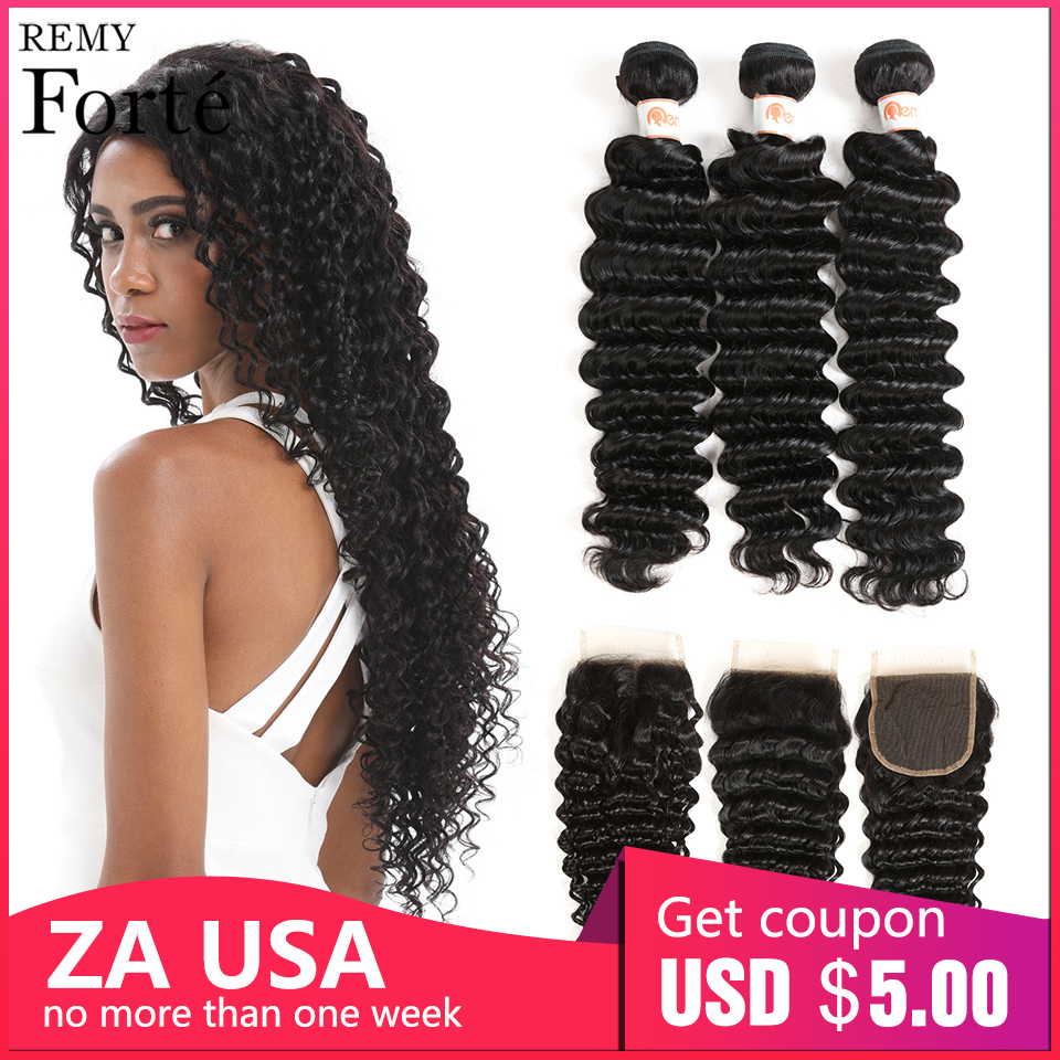 Remy Forte Deep Wave Bundles With Closure 8-30 Inch Hair Non Brazilian Weave 3/4 Curly