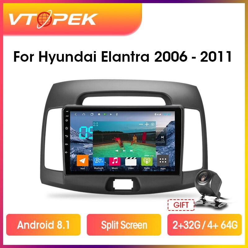 """Vtopek 9 """"4g + wifi dsp 2din android 8.1 rádio do carro reprodutor de vídeo multimídia navegação gps para hyundai elantra 2006-2011 unidade principal"""