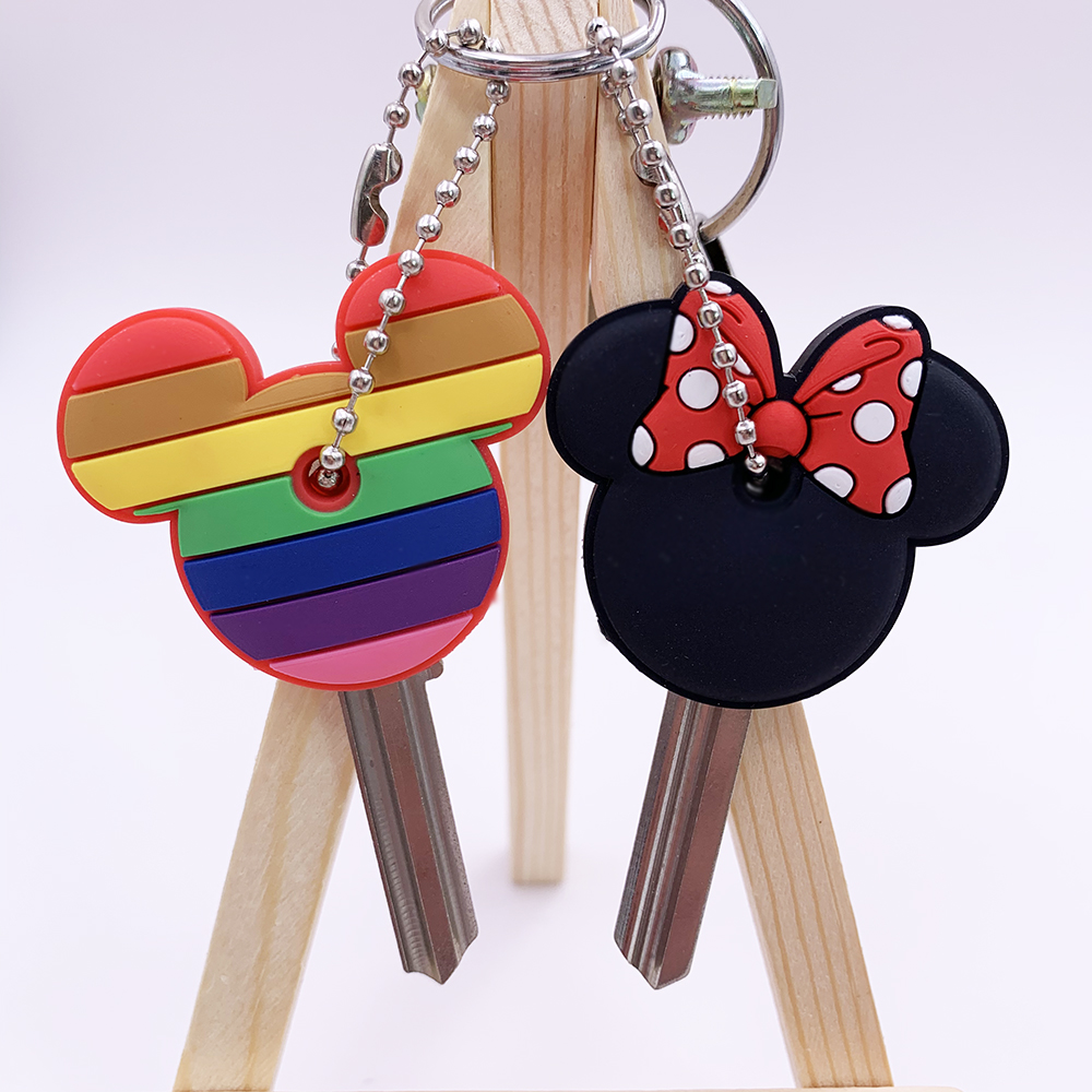 1 Pc Cartoon Anime Keychain Cute Silicone Mickey Stitch Bear Key Cover Cap Women Gift Owl Porte Clef Minne Key Chain