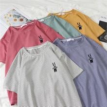 Striped T-Shirt Women Korean Style Embroidery Rabbit Print Summer Tops O Neck Short Sleeve Cartoon Tee Shirt striped print o ring zip front tee
