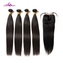 Mèches Non Remy naturelles lisses Ali Coco, 100% cheveux humains, Extensions avec Closure, lot de 4